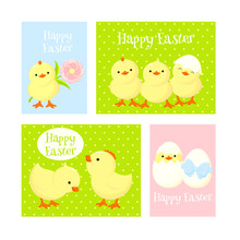 Set Of Easter Cards With Cute ...