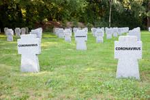 Cemetery Graveyard And Tombstones With Coronavirus Text