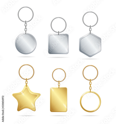 Photo Realistic Detailed 3d Empty Template Shiny Golden and Silver Metal Keychains Set