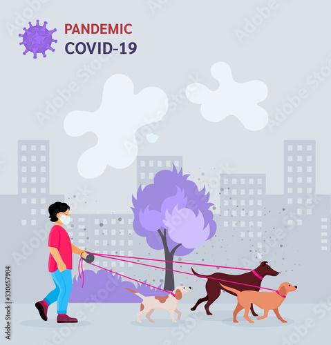 Obraz Boy walking dogs in city park vector - fototapety do salonu
