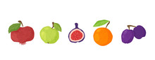 Textured Fruit - Apple, Orange, Pomegranates, Figs And Plum Isolated Design Elements On White. Healthy Diet Organic Food With Hand Made Textures. Paper Effected Flat Vector Objects