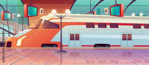 Railway station with high speed train and platform with schedule Wallpaper Mural