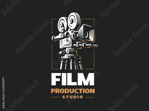 Leinwand Poster Cinema camera - vector illustrations. Design on black background