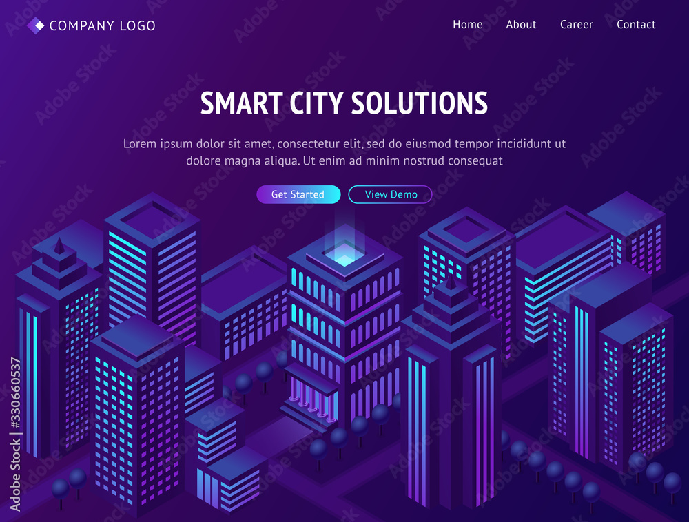 Fototapeta Smart city solutions isometric landing page, futuristic metropolis town with neon glowing skyscrapers, smartcity futuristic buildings, streets on purple background. 3d vector illustration, web banner
