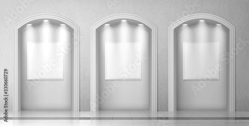 Slika na platnu Arches in wall with columns and illuminated blank signboards, curved interior ga