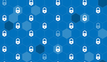 Seamless Pattern Lock Icon Hexagon Net Blue Background, Cyber Security Concept.