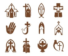 Jesus Cross, Bible And Dove Icons Of Religion Vector Design. Christian And Catholic Churches, Prayer, Priest And Angel, Holy Book, Bird, Crucifix And Fish Brown Symbols, Faith And Religious Themes