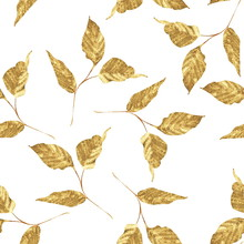 Gold Seamless Pattern Of Leaves. Trendy Floral Background