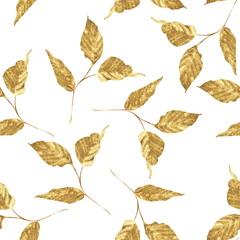 Naklejka Popularne Gold seamless pattern of leaves. Trendy floral background