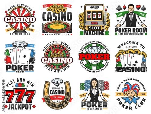 Fotografia Casino roulette, poker and slot machine icons vector design
