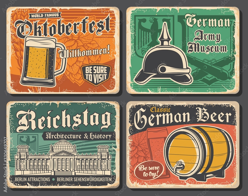 Fototapeta Germany travel landmarks and German Oktoberfest beer vector design. Glass, barrel and tankard of lager or ale alcohol drinks with barley and hops, Reichstag building, heraldic eagle and spiked helmet