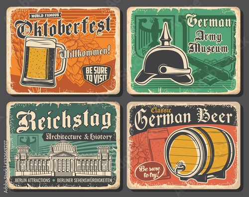 Obraz Germany travel landmarks and German Oktoberfest beer vector design. Glass, barrel and tankard of lager or ale alcohol drinks with barley and hops, Reichstag building, heraldic eagle and spiked helmet - fototapety do salonu