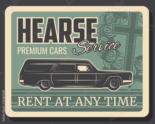 Fotografía Hearse car service vector design of funeral, burial or cremation