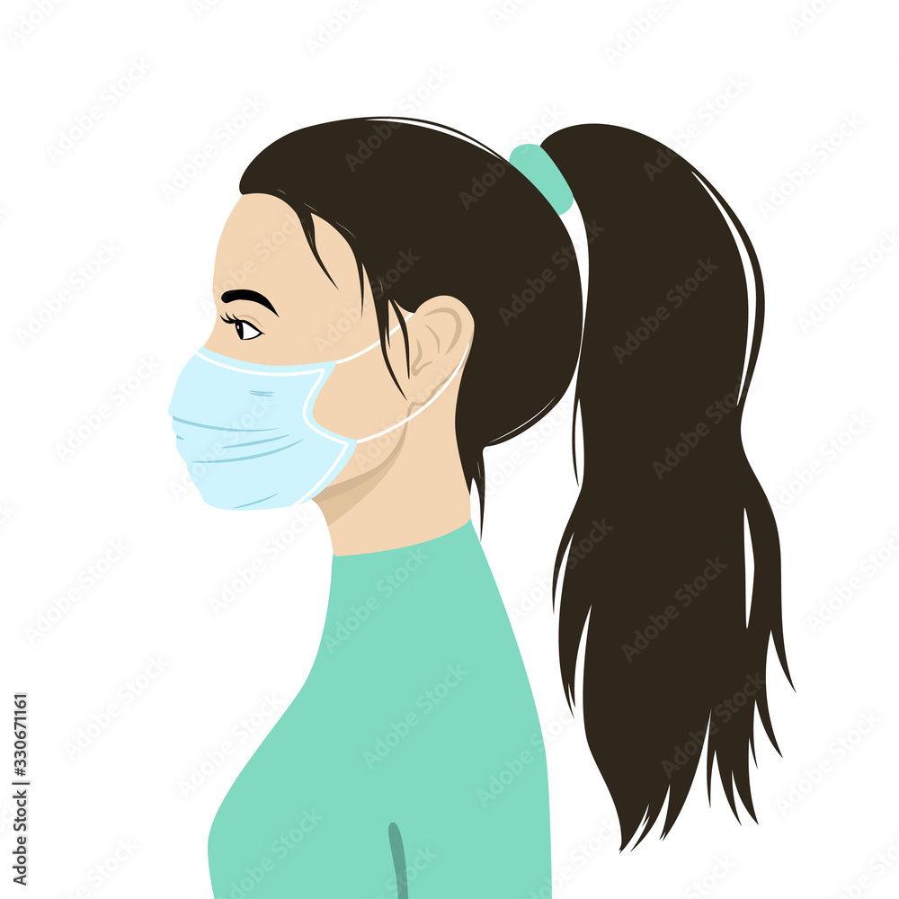 Fototapeta Vector image of a woman's profile in a medical mask. Virus protection. EPS 10