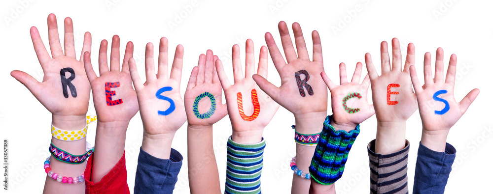 Fototapeta Children Hands Building Colorful Word Resources. White Isolated Background