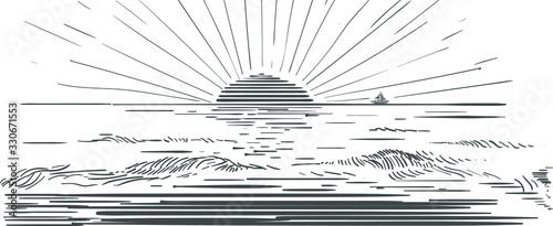 Fototapeta Piekny zachód słońca nad morzem grafika ręczna rysunek wektorowy obraz