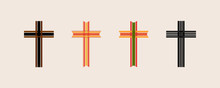 A Set Of Wooden Cross Using Bamboo And The Paper Weaves Together In Alternating Order. Can Be Used In Easter And Used To Make The Logo Of The Christian Cross.