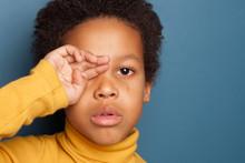 Black Child Boy Crying. Unhapp...