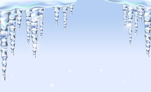 Icicles Icy For Background, Isolated Realistic, Sparkling. Spring Ice Is Melting.