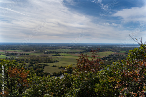 panoramic view of autumn forest and Ottawa Valley. Hiking along Skyline and King Mountain Trail, Gatineau Park, Canada.