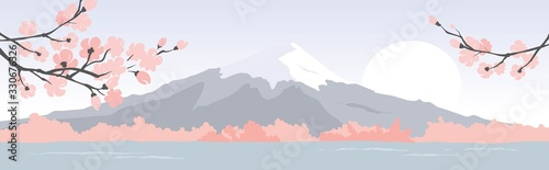 Fotografie, Obraz Abstract landscape with mount fuji / Vector illustration, narrow background, blo
