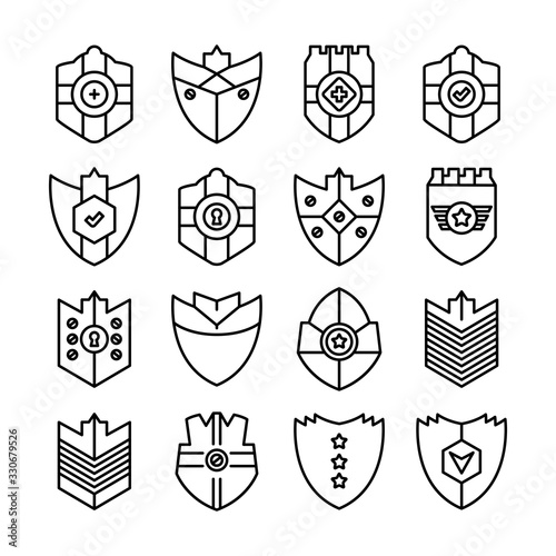 Photo shield, badge and insignia icons set line design