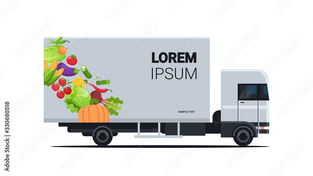 Fototapeta realistic truck trailer with organic vegetables natural vegan farm food delivery service vehicle with fresh veggies horizontal flat vector illustration