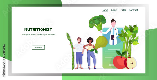 Obraz doctor nutritionist explaining to patients properties of fresh vegetables and fruits healthy lifestyle nutrition online medical consultation concept mobile app horizontal copy space full length vector - fototapety do salonu