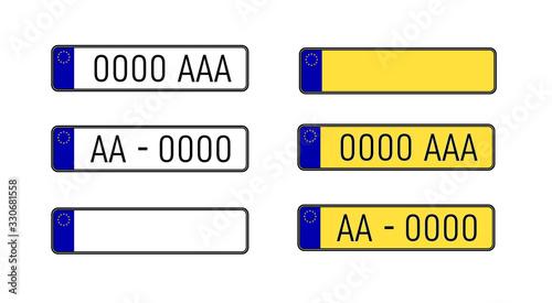 Set of european number plates Canvas Print