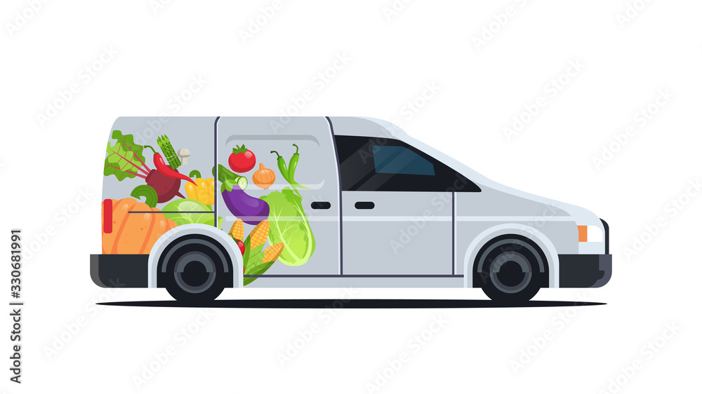 Fototapeta realistic van with organic vegetables natural vegan farm food delivery service vehicle with fresh veggies horizontal flat vector illustration