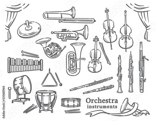 Foto クラシック音楽の楽器イラスト素材セット