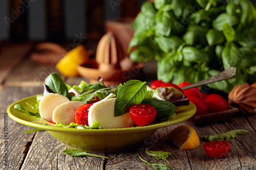 Green salad with mozzarella, tomato and basil in green plate on a old wooden background Canvas Print