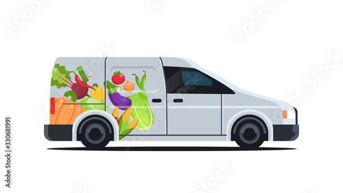Obraz realistic van with organic vegetables natural vegan farm food delivery service vehicle with fresh veggies horizontal flat vector illustration - fototapety do salonu