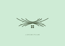 Home Nest Logo Template, Home Branch Handmade Logo Illustration