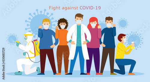 Photo People and Doctor wearing Face Mask Fight Against Covid-19 or Coronavirus