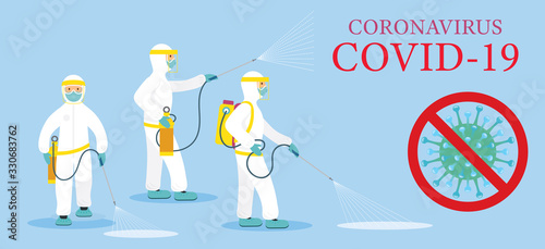 Cuadros en Lienzo People in Protective Suit or Clothing, Spray to Cleaning and Disinfect Covid-19