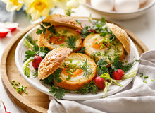 Baked Eggs In Bread Bowls With...