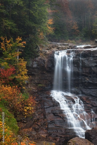 Beautiful view of Blackwater Falls with autumn colors in Blackwater State Park, Canvas Print