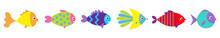 Fish Icon Line Set. Cute Carto...
