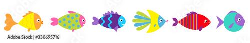 Photo Fish icon line set