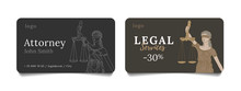 Bussiness Cards For Law Firm Or Attorney With Line Illustration Of Blind Goddess Of Justice Femida With Scales, Corporate Style Element
