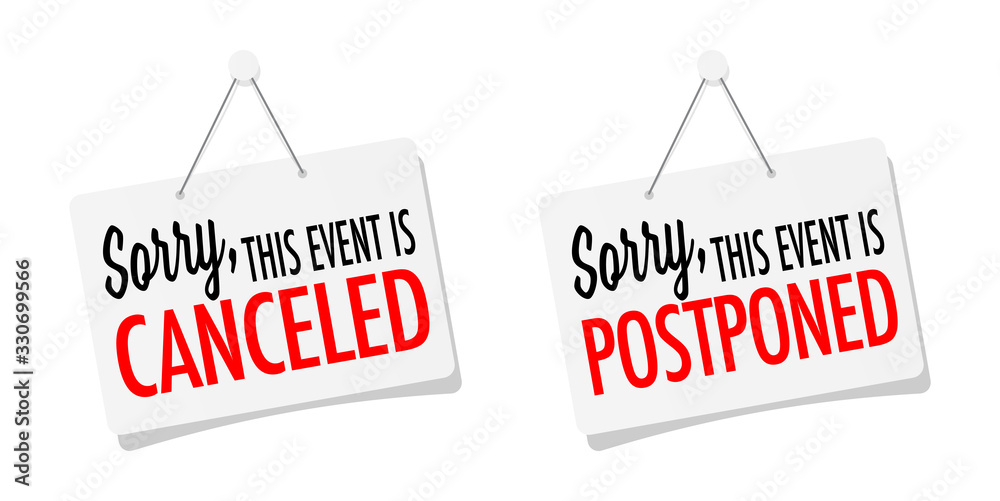 Fototapeta Sorry, this event is canceled or postponed on sticker