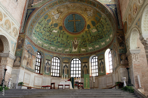 Ravenna, Italy - September 12, 2015: The apse mosaic with the face of Christ in Canvas Print