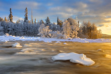 Ice And Frozen Lake In Isterfossen, Hedmark Fylke, Norway, Europe
