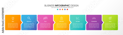 Obraz Infograph template with business icons and 7 options. Diagram. Vector - fototapety do salonu