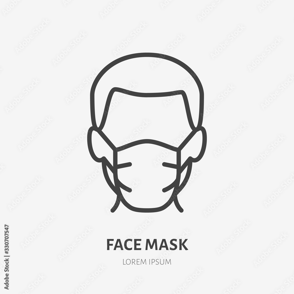 Fototapeta Man in face mask line icon, vector pictogram of disease prevention. Protection wear from coronavirus, air pollution, dust, flu illustration, sign for medical equipment store