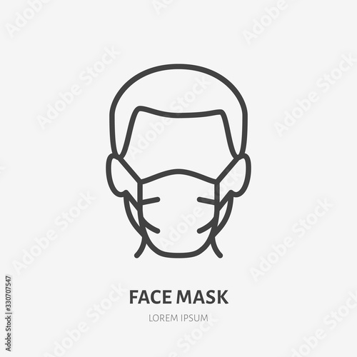 Obraz Man in face mask line icon, vector pictogram of disease prevention. Protection wear from coronavirus, air pollution, dust, flu illustration, sign for medical equipment store - fototapety do salonu