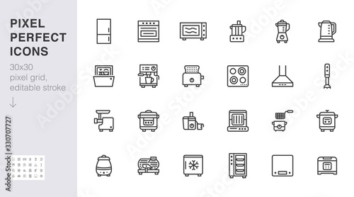 Kitchen appliance line icon set Canvas Print