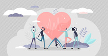 Good Health Concept, Flat Tiny Persons Vector Illustration