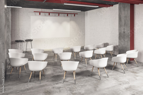 Photo Minimalistic interior of a presentation room with chairs and blank screen